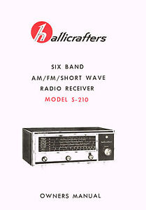 Hallicrafters S-210 S210 Receiver Owners Manual With