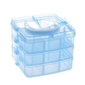 Blue Plastic Empty 3 layer Storage Case Box Nail Art Craft Makeup O8G8