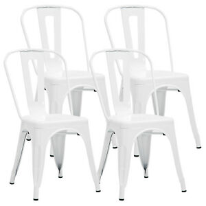 cafe chairs metal cotton lounge chair covers mecor white dining set of 4 armless kitchen image is loading