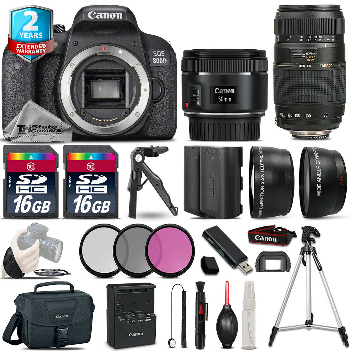 Canon Rebel 800D T7i Camera + 50mm 1.8 STM & 70-300mm +Extra Batt + 2yr Warranty