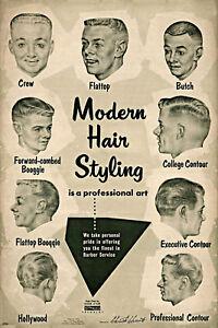 details zu vintage ad modern hair styling chart barbershop haircut drawings barber poster