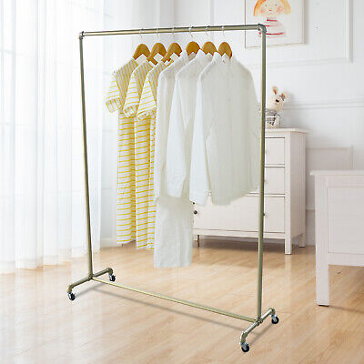 industrial pipe clothing rack rolling rack for hanging clothes retail display ebay