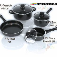 Kitchen Pans Utensils Strainer 7pc Cookware Set Steel Pots And Carbon Image Is Loading