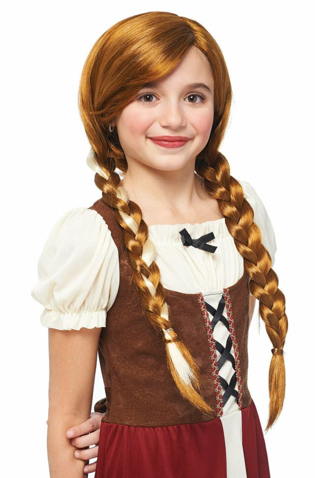 peasant girl wig natural red long braids anna child girls hair accessory