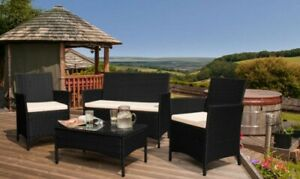 details about rattan garden furniture set 4 piece chairs sofa table outdoor patio conservatory