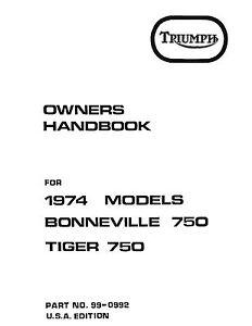 Triumph Owners Manual Book 1974 Bonneville 750 & 1974
