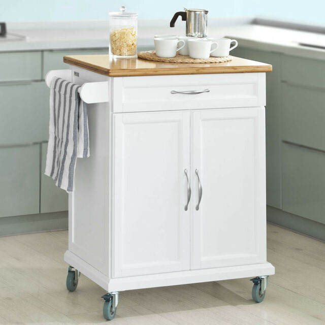 SoBuy Wood Kitchen Cabinet Cupboard Moving Storage Trolley Cart