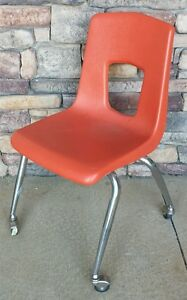 artco bell chairs living room chair covers at target vintage mid century retro orange polyethylene 17 details about with wheels