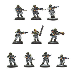 IMPERIAL GUARD 10 Cadian Shock Troops PRO PAINTED