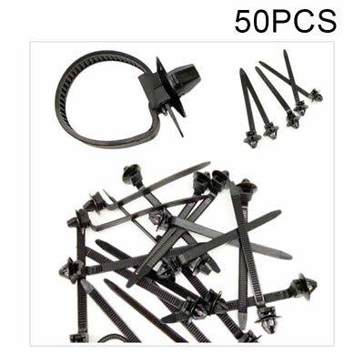 50 Pcs Black Nylon Car Auto Cable Strap Push Mount Wire