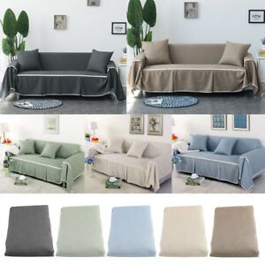linen sofa slipcover memory foam beds 1 2 3 4 seater elastic cover couch covers furniture image is loading