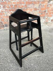 high chairs for small babies chair step stool combo stained wood pub restaurant kids wooden baby image is loading