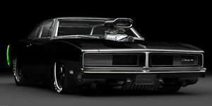 details about 1969 dodge charger r t pro stock classic car art poster print style b 18x36 9mil