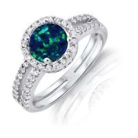 Round Cut Dark Blue Fire Opal Halo Wedding CZ Engagement ...