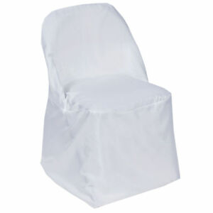 white folding chair covers ebay kohls lounge 1 polyester cover sample wedding reception image is loading