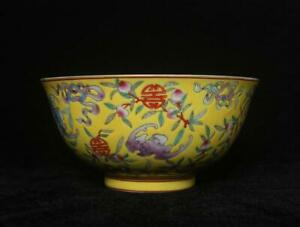 Yongzheng Signed Antique Chinese Famille Rose Bowl W/peach