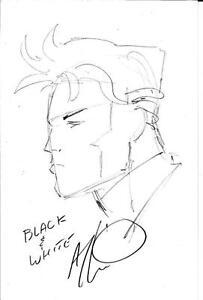 BLACK & WHITE Art Thibert Pencil Sketch & #1 Comic SIGNED Autographed - 1994