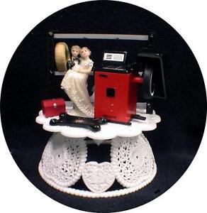 Funny Racing Wedding Cake Topper Groom Bride Mechanic