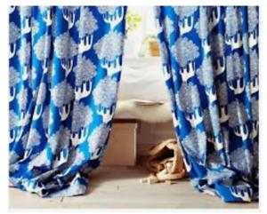 details about ikea kajsamia blue white tree sealed pair curtain panel grommet heavy canvas 2