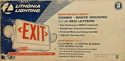 lithonia lighting combo red exit sign emergency lights w battery new rough box 745974254065 ebay