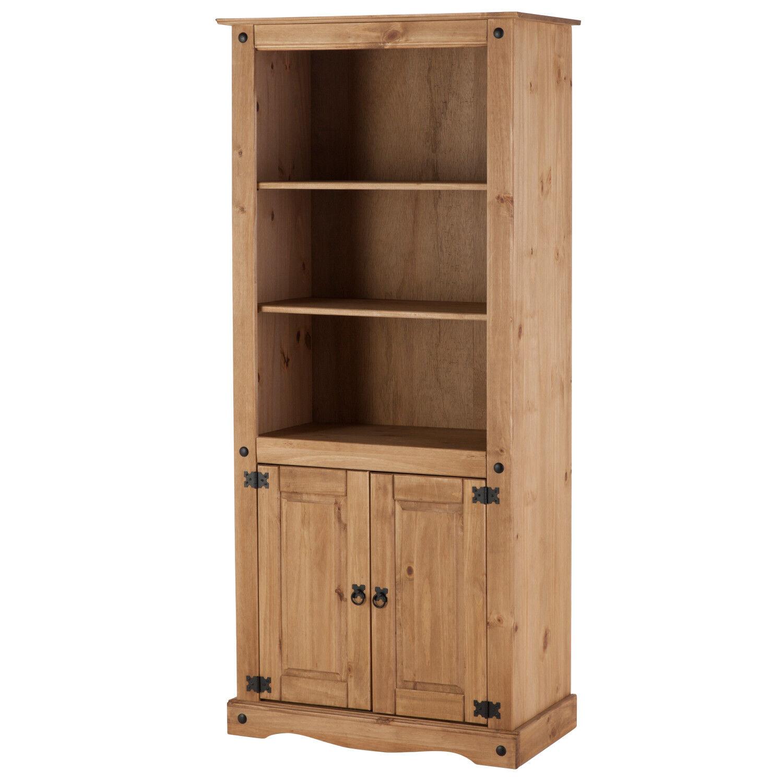 Distressed Waxed Pine Finish Corner Storage Display Cupboard