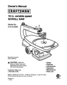 Craftsman 315.216360 Scroll Saw Owners Instruction Manual