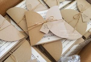 Details About Rustic Wedding Invitations Handmade In Australia 25 Printed Invitation Cards