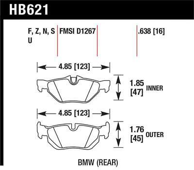 Hawk for 2011-2011 BMW 125i HPS 5.0 Rear Brake Pads