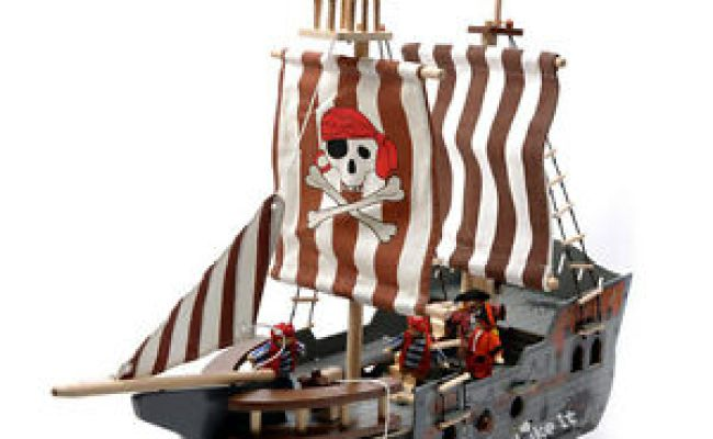Imaginarium Wooden Pirate Ship 68cm Large Boat Pretend