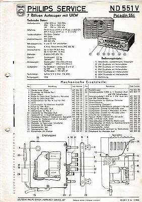 Service Manual-Anleitung für Philips ND 551 V,Paladin 551