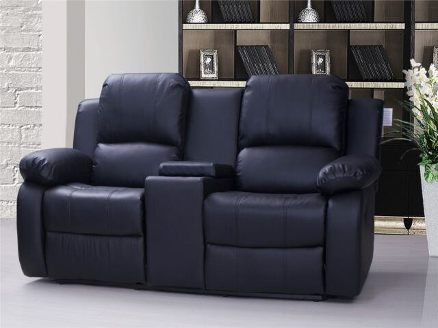 black reclining sofa with console 8642 transitional sectional chaise by albany valencia 2 seater leather recliner drinks