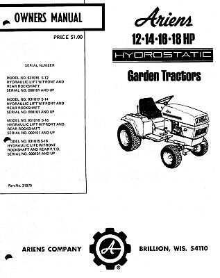 Ariens HydroStatic Garden Tractor 931 Series Service