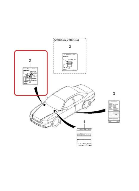 Vacuum Diagram- Label GENUINE KIA 3249038350 Fits 2000
