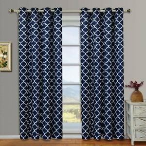 details about set 2 navy white geo lattice curtains panels drapes 63 84 96 108 inch darkening