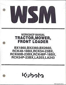 Kubota BX1860, BX2360, BX2660 Tractor Workshop Service