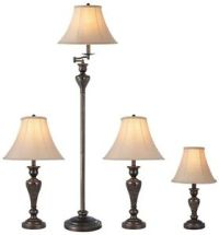 Lamp Set 4-Piece Bronze Fabric Shades Floor Table Accent ...