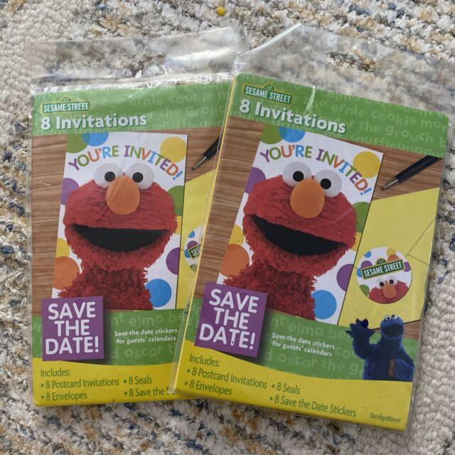 designware sesame street elmo birthday invitations thank you post cards 8 ct