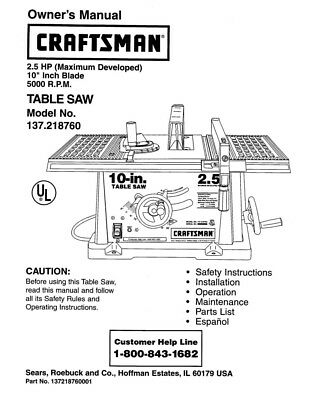 Craftsman 137.218760 Table Saw Owners Instruction Manual