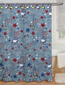 details about new snoopy flag 4th of july peanuts shower curtain w hooks woodstock