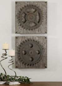 SET OF TWO DECORATIVE GEARS WALL ART RUSTIC OR ...