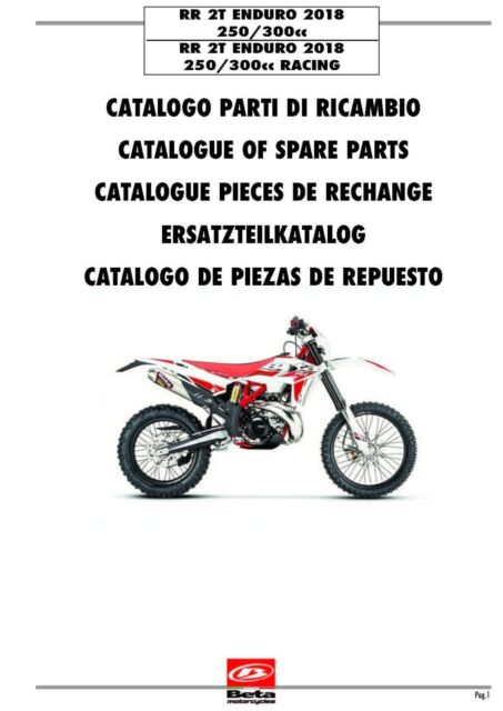 Beta Parts Manual Book Chassis & Engine 2018 RR 2T ENDURO