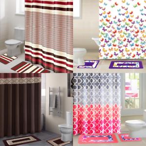 details about all seasons 15pc bathroom set shower curtain fabric hooks bath mats rugs new