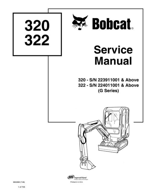Bobcat 320, 322 G Compact Excavator Service Manual Shop