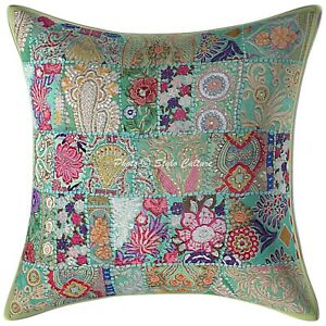details about ethnic throw pillow cover green 24 x 24 vintage patchwork bohemian cushion cover