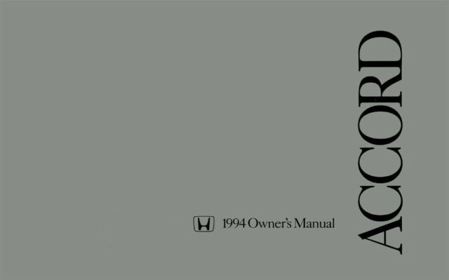 1994 Honda Accord Sedan Owners Manual User Guide Reference