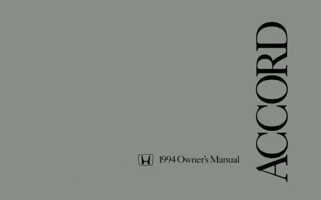 1994 Honda Accord Sedan Owners Manual User Guide Reference