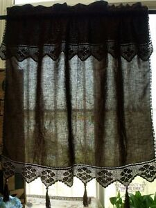 ONE Vtg Cafe Tier Curtain Panel Hand Crochet Cotton Lace