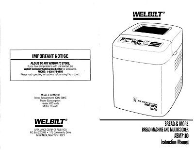 Welbilt Bread and More Machine Instruction Manual Model