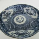 ANTIQUE BLUE AND WHITE CHINESE PORCELAIN BOWL, 5 1/2″ D