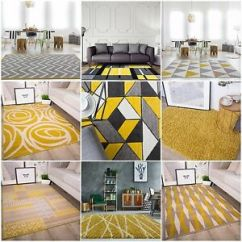 Yellow And Gray Rug For Living Room Plant In Decoration Modern Ochre Mustard Soft Warm Grey Image Is Loading